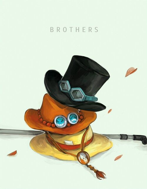 Brothers, text, Sabo, Ace, Luffy, hats; One Piece