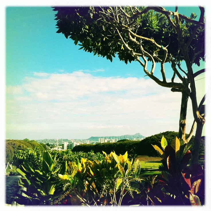 View of Diamond Head from Punchbowl on #Oahu. #Hawaii #Hipstamatic #retro