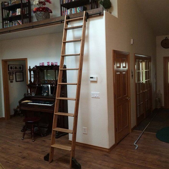 10 Ft Unfinished Wood Rolling Ladder Without Rail Kit Rolling Ladder Ladder Loft Ladder