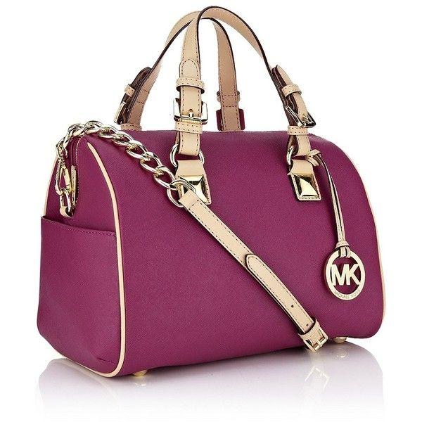 MICHAEL Michael Kors Grayson Saffiano Leather Bowling Bag ($500) ? liked on Polyvore