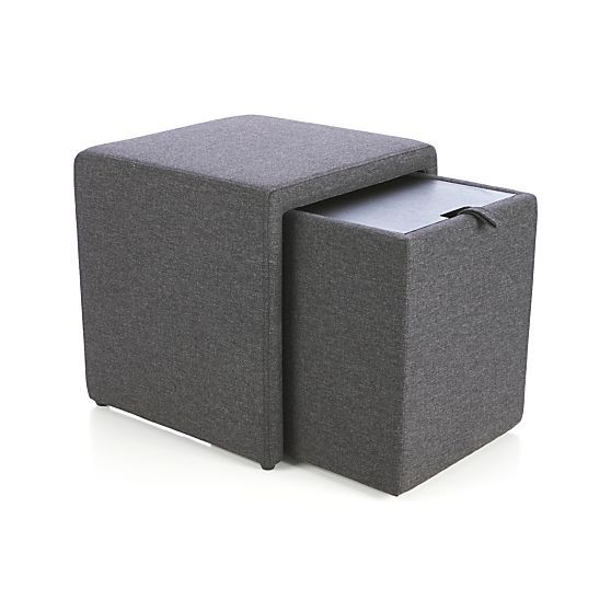 Stash Grey Storage Ottoman  | Crate and Barrel  WHERE HAS THIS BEEN ALL MY LIFE?!  Combine 4 into one larger ottoman and separate as needed.
