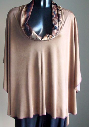 Handmade-designer-SAND-beige-abstract-Jersey-Knit-PONCHO-Top-FITS-L-2X