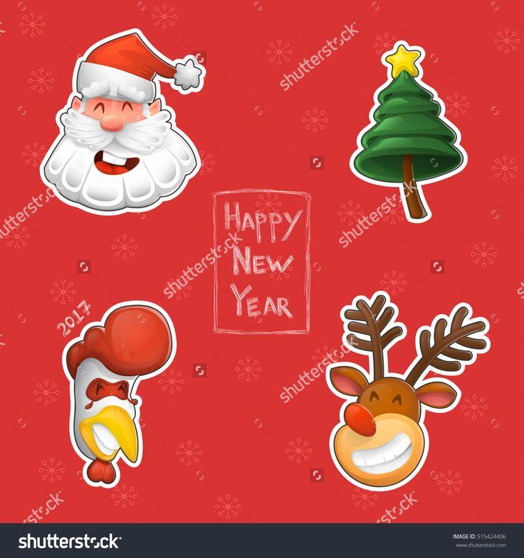 Векторных элементов дизайна. Смешные Санта-Клаус, символ Нового года, Петух, северный олень и новогодняя елка. Набор рождественских наклейках в мультяшном стиле. - 515424406: Shutterstock