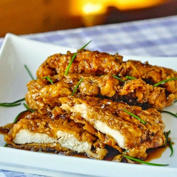 Double Crunch Honey Garlic Chicken Breasts Recipe. Just made This for lunch. This is super good!