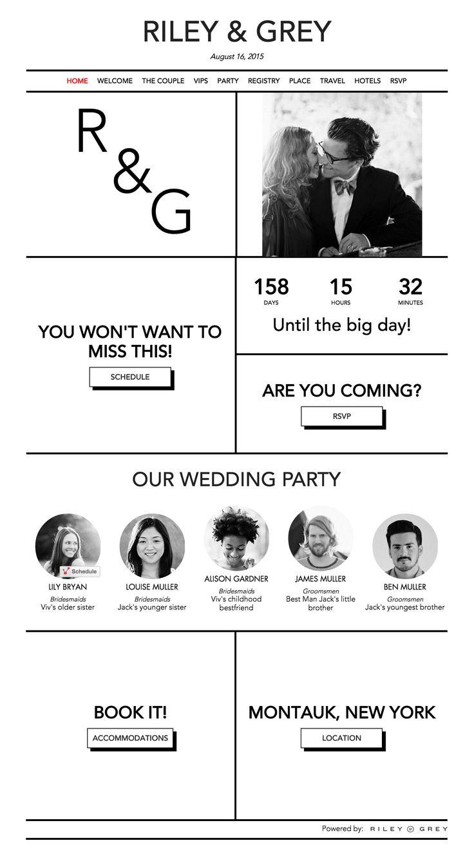 """CRISP"" wedding website design homepage by Riley & Grey"