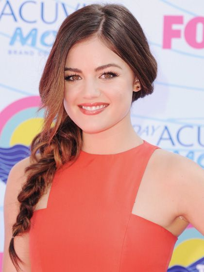 Lucy Hale's side braid is draped and piece-y, perfect for women with layered cuts.