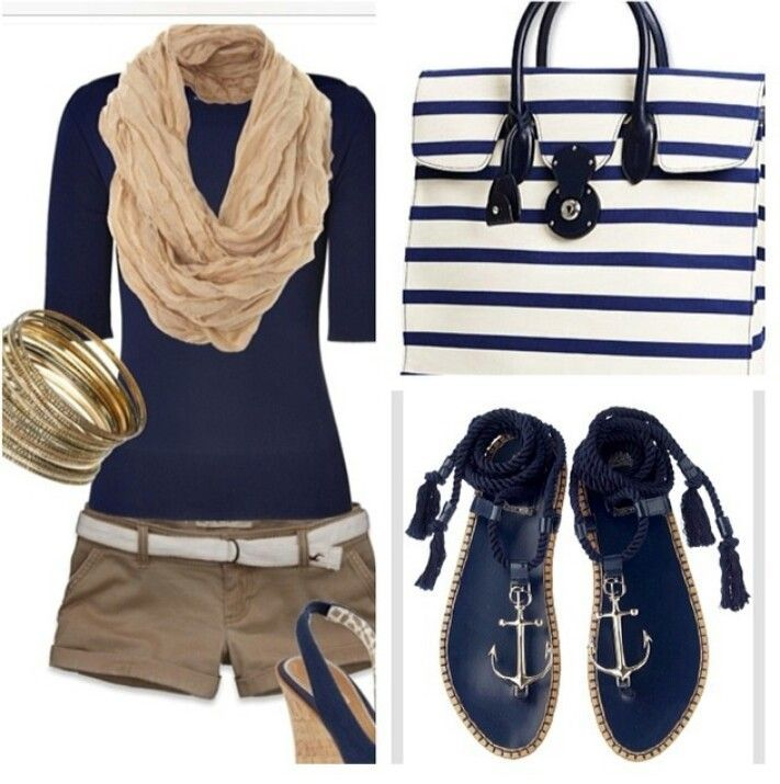 Summer Nautical Fashion-from The Everyday Home - Love this whole look, but I absolutely LOVE the sandals!