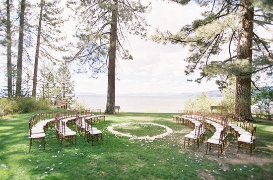 30 Unique Altar Alternatives For Outdoor Weddings: If you're in the midst of gorgeous scenery, why not try a ceremony in the round? Not only will your guests get a unique view, but you'll also be (literally) surrounded by your loved ones during that special moment.  Source