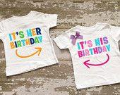 It's His Birthday....It's Her Birthday Twin Boy/Girl Shirt Set