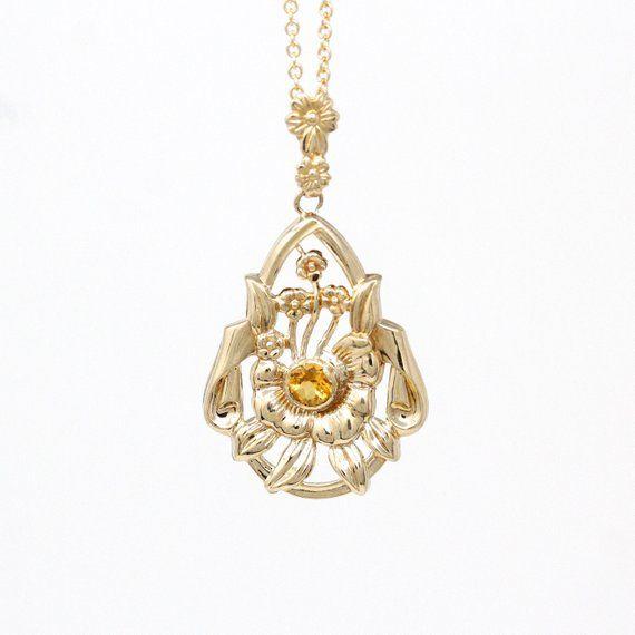 Genuine Citrine Necklace Retro 10k Gold Leaf Flower 20 Ct Orange Gem Charm Pendant Vintage 1940s Era Fine Nature Esemco Jewelry Citrine Gemstone