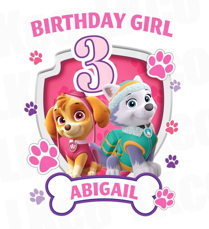 Paw Patrol Iron On Transfer | Skye & Everest | Birthday Girl