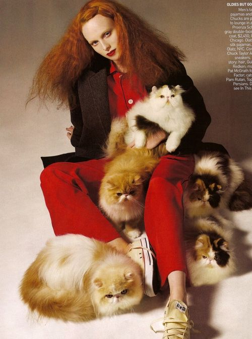 One of our absolute favorite cat-itorials. Karen Elson as Grace Coddington for Vogue.