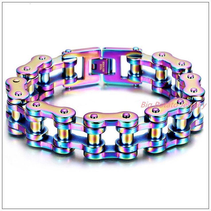 "BRACELET CHAÎNE MOTO Rainbow 9.25""*19mm 155g  316L Stainless Steel C"