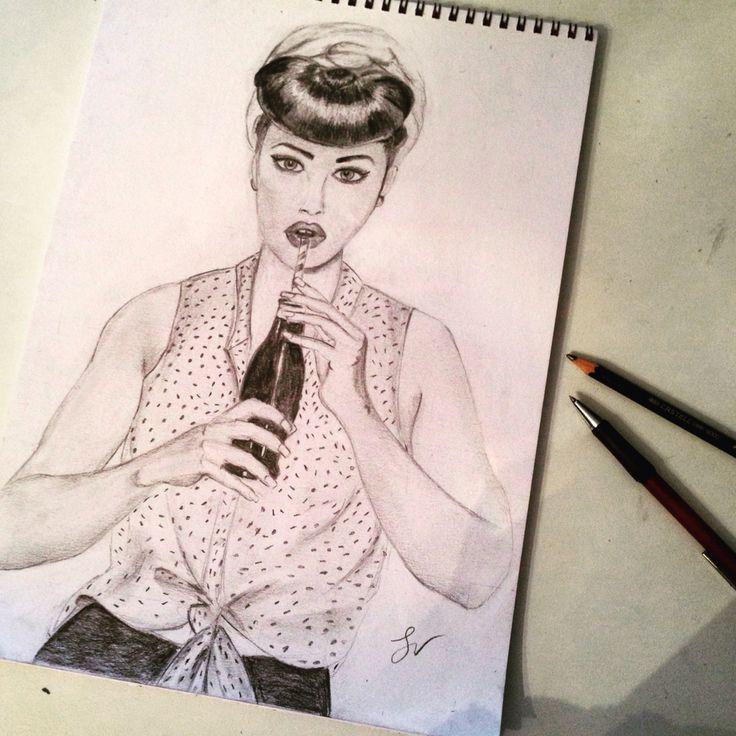 Pin up girl - free hand - my drawing