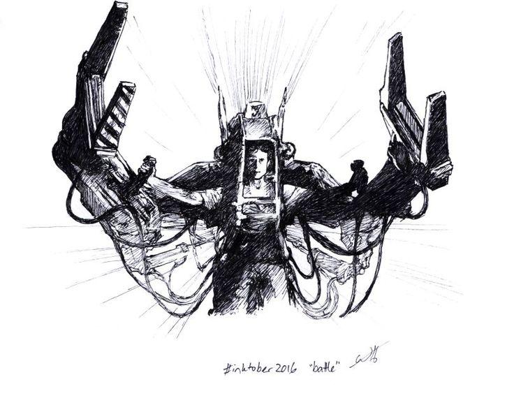 "Inktober 2016 art challenge day 17: ""battle"". Ripley loadlifter, Aliens. #inktober #inktober2016"