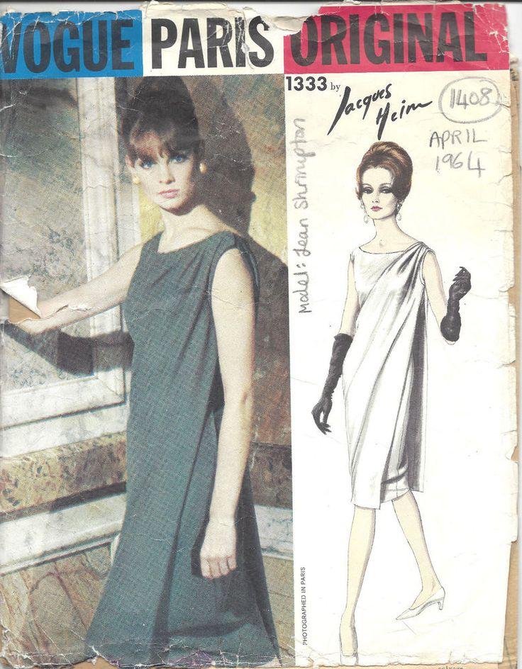 1964 Vintage VOGUE Patron de Couture B32 ROBE SOIRÉE (1408) Par JACQUES HEIM