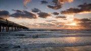 hd concrete pier sunset wallpaper download