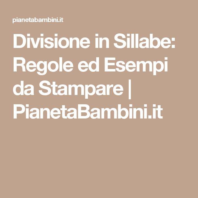 Divisione in Sillabe: Regole ed Esempi da Stampare | PianetaBambini.it