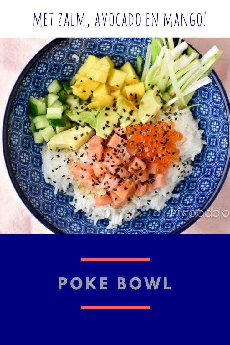 De poke bowl is een gerecht uit Hawai met rijst, groente en (rauwe) vis. Op zoek naar een recept voor een poke bowl? Maak je eigen poke bowl! Onze heerlijke poke bowl heeft o,a. zalm, avocado en mango. Yum!