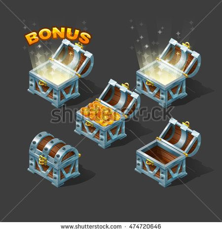 Cartoon colorful isometric chest set with bonus. Vector illustration.