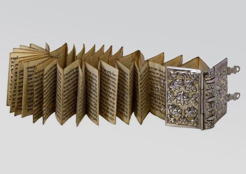 Esther scroll, folded and bound in a silver book binding,Italy,18th century.