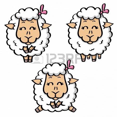 grappige cartoon witte schapen in drie poses Stockfoto - 18678091