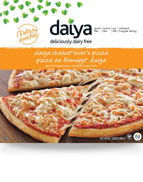 Daiya dairy-free cheese pizza with gluten-free pizza crust