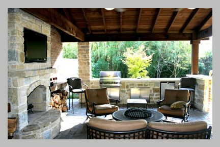 A great layout with covered seating area fireplace and tv for Outdoor living space designs