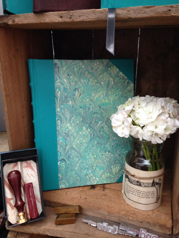 Large Turquoise half leather journal with Italian marble sides. perfect for personalisation. www.sblibris.com.au