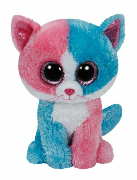 This is a giant pink and blue cat