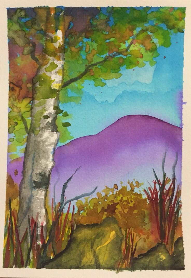 Watercolour birch tree thanks to Lindsay for the tutorial
