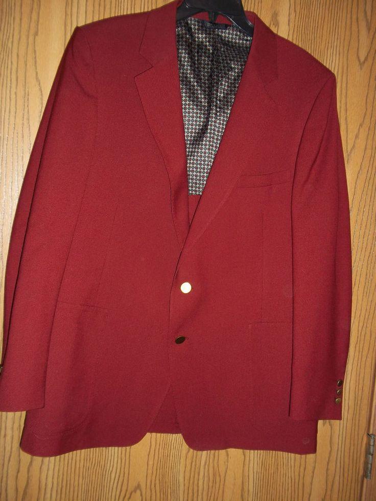 Phoenix Clothes Maroon Suit Jacket Blazer Sportcoat 44 R  #PhoenixClothes #TwoButton