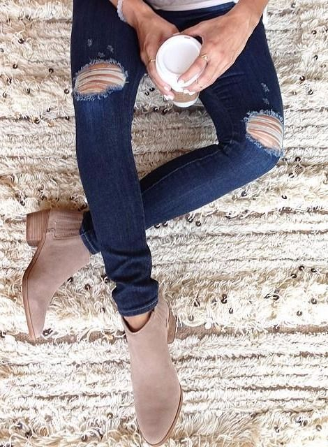 ripped skinny jeans + suede ankle boots