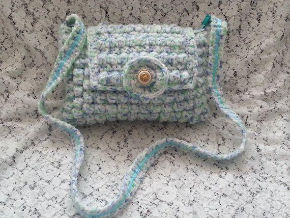 Crocheted Cross Shoulder Bag  Bobble Bag  Pastel by jazzicrafts ♡♡