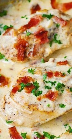 ASIAGO CHEESE Chicken with lemon, garlic, bacon cream sauce.  Tender, super moist chicken breasts!