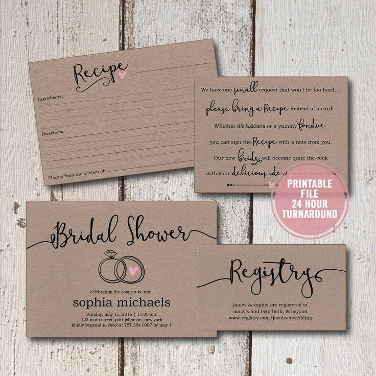 simple diy bridal shower invitations%0A Bridal Shower Invitation Printable Suite   pieces  Rustic Bridal Shower  Invitation  Bridal Shower Invitation