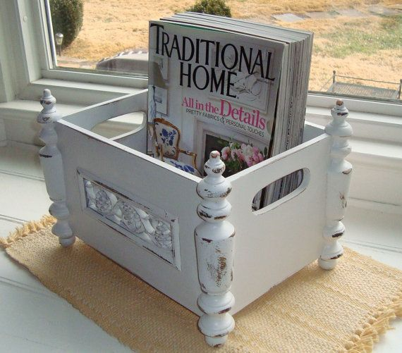Vintage Wooden Magazine Rack Shabby Chic by DominionDesign, $55.00