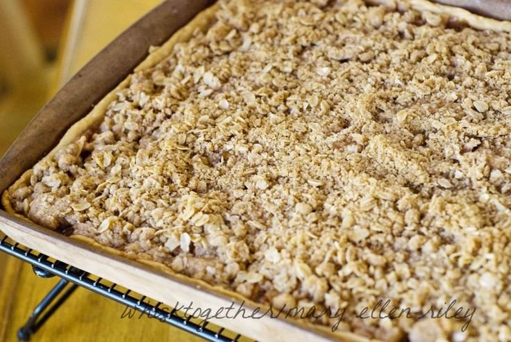 Apple Crisp Pizza for a Crowd - A nice way to serve apple crisp to a large group. This crisp is baked in a standard 10-1/2 x 15-1/2 x 1 and makes approximately 16 to 24 servings.
