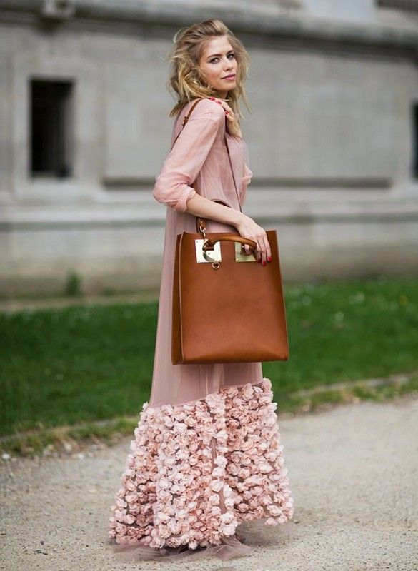 Gorgeous petal-pink maxi slip with rose embellishments and an oversized leather tote