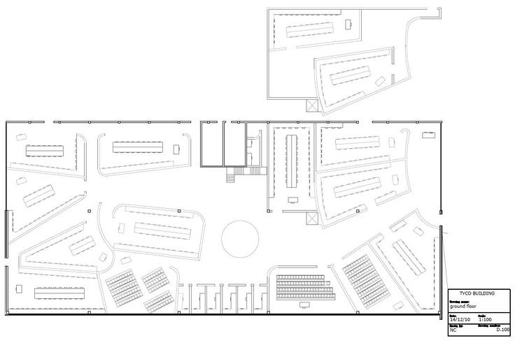 Floor Plan and Mezzanine level AutoCad Drawing of Tyco