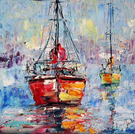 Original oil painting MORNING HARBOR BOATS palette knife fine art on canvas by Karen Tarlton impasto impressionism