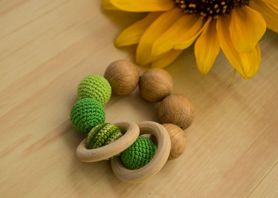Crochet Teething Ring in Green  oak wood natural by MyFirstToy