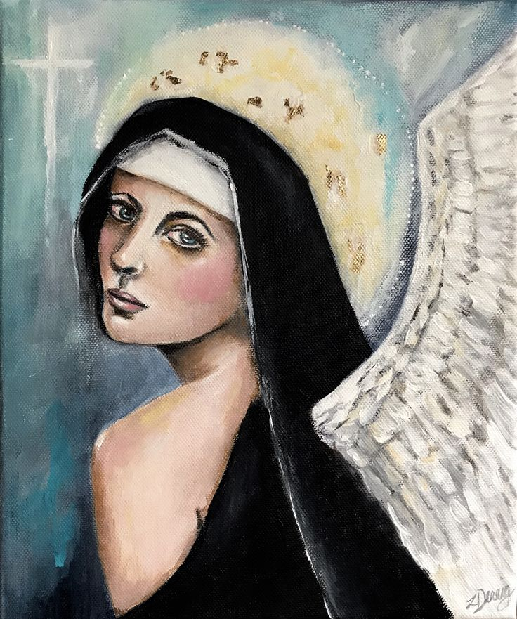 'Purity' acrylic painting of angel/saint