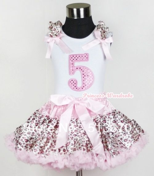Белой майке 5th искра светло-розовый на день рождения номер с светло-розовый леопард узор-оборками-лук-женщины светло-розовый леопард юбка MAMG552