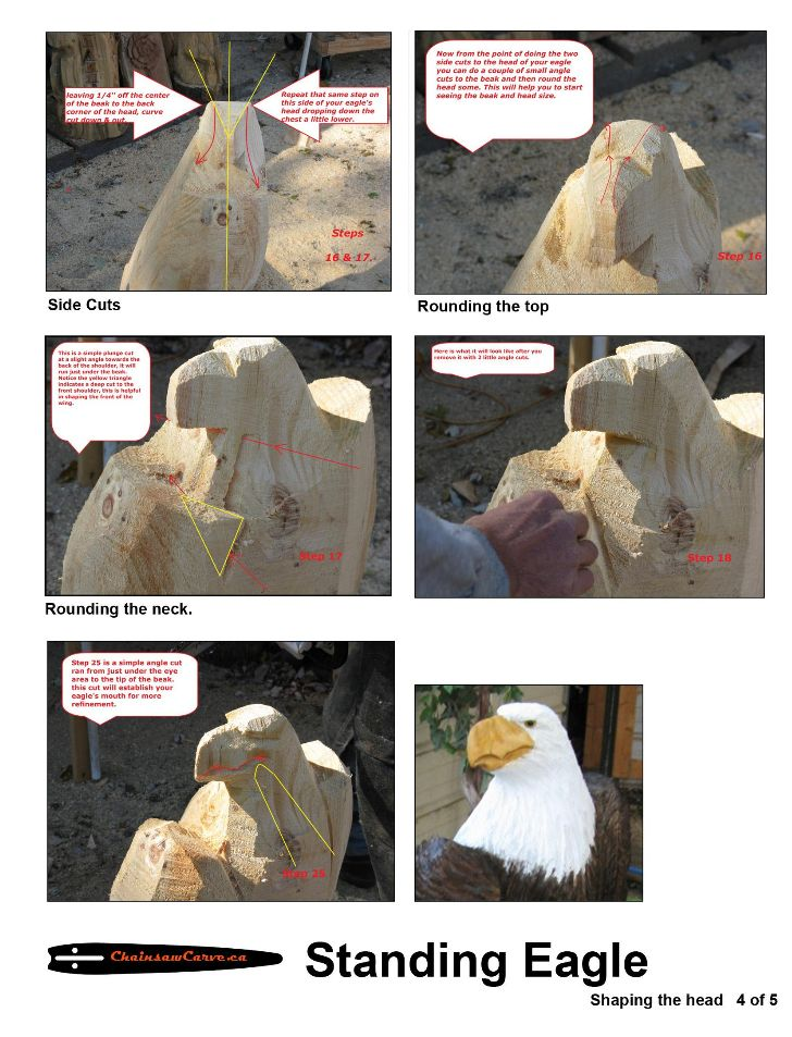 Chainsaw carving patterns Standing Eagle 4of5. https://www.facebook.com/Bill.Sculptures.tronconneuse.Quebec