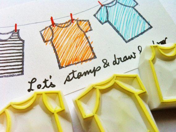 t-shirts stempels. Tee shirts hand gesneden stempels. Kleurplaat stempel. kaart maken. scrapbooking. DIY ambachten met kinderen. set van 3