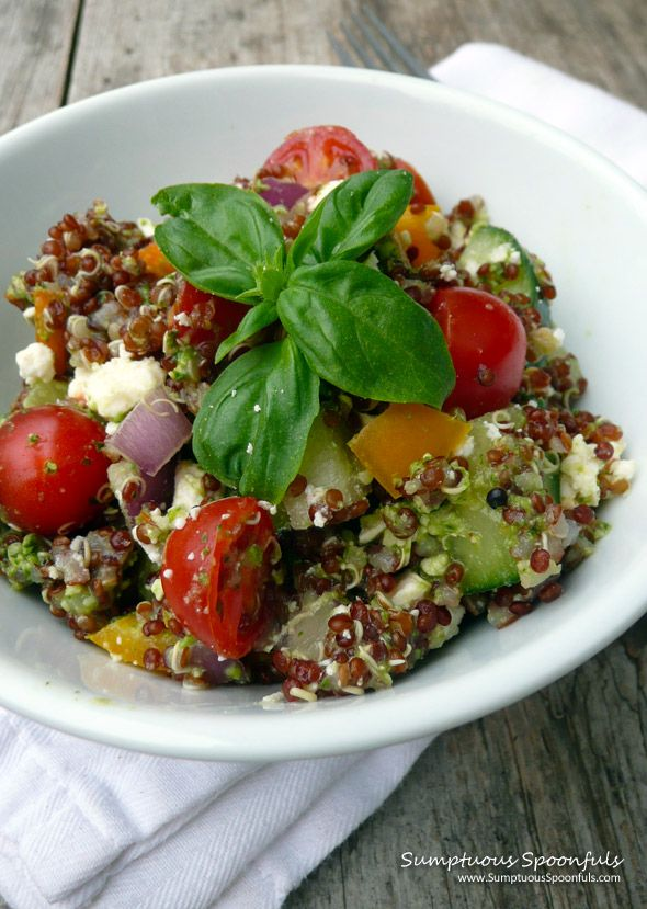Confetti Quinoa Salad with Feta and a Cilantro Pesto Lemon Dressing ~ Sumptuous Spoonfuls #quinoa #pesto #recipe