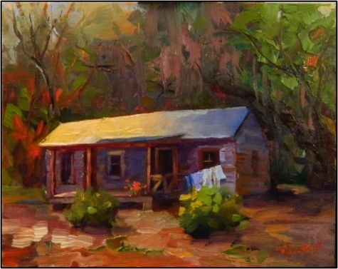 Humble Abode , 8x10, oil on linen, Florida Cracker Shack, Marjorie Keenen Rawlings, Cross Creek, painting by artist Maryanne Jacobsen