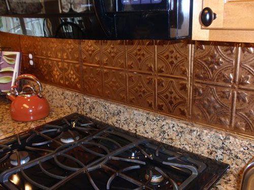 pressed copper kitchen backsplash tilesi have this - Copper Kitchen Backsplash Ideas