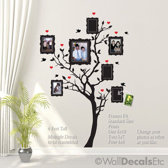 Family Tree Wall Decal with Hearts Birds Picture by WallDecalsEtc, $74.00  No need to purchase ... can paint myself (or, maybe, mom).